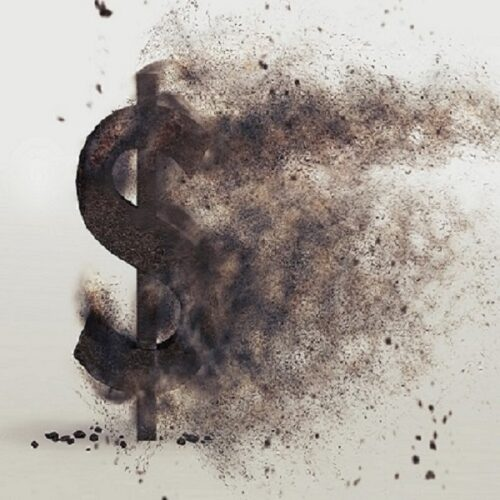 3D render of a dollar sign disloving into dust.